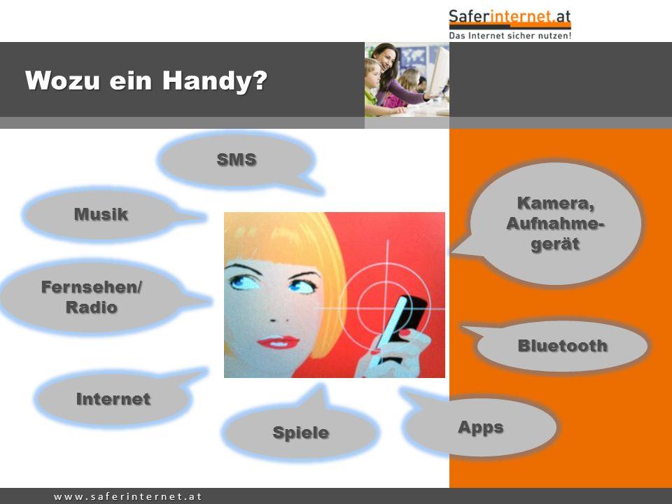 w w w. s a f e r i n t e r n e t. a t Wozu ein Handy? Internet Kamera, Aufnahme- gerät SMS Bluetooth Spiele Musik Fernsehen/ Radio Apps