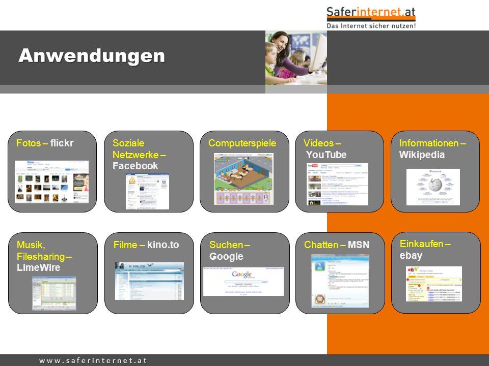 w w w. s a f e r i n t e r n e t. a t Anwendungen Soziale Netzwerke – Facebook Chatten – MSN Einkaufen – ebay Videos – YouTube Informationen – Wikiped