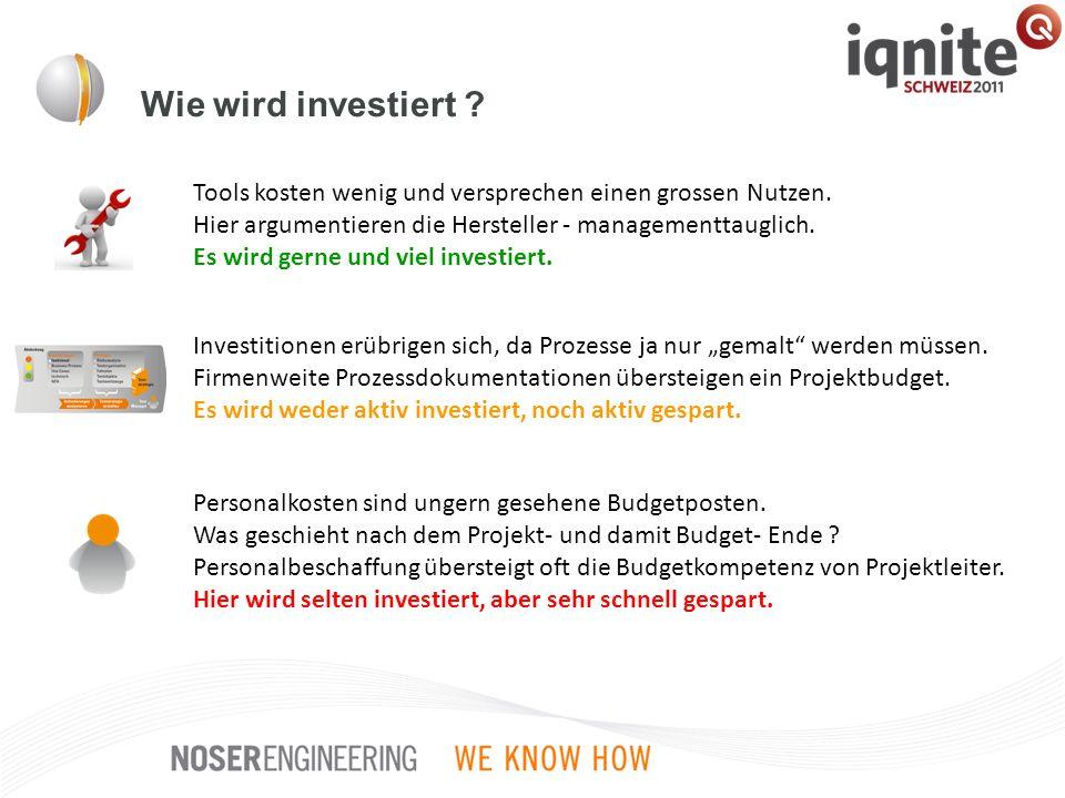 Wie wird investiert ? Tools kosten wenig und versprechen einen grossen Nutzen. Hier argumentieren die Hersteller - managementtauglich. Es wird gerne u