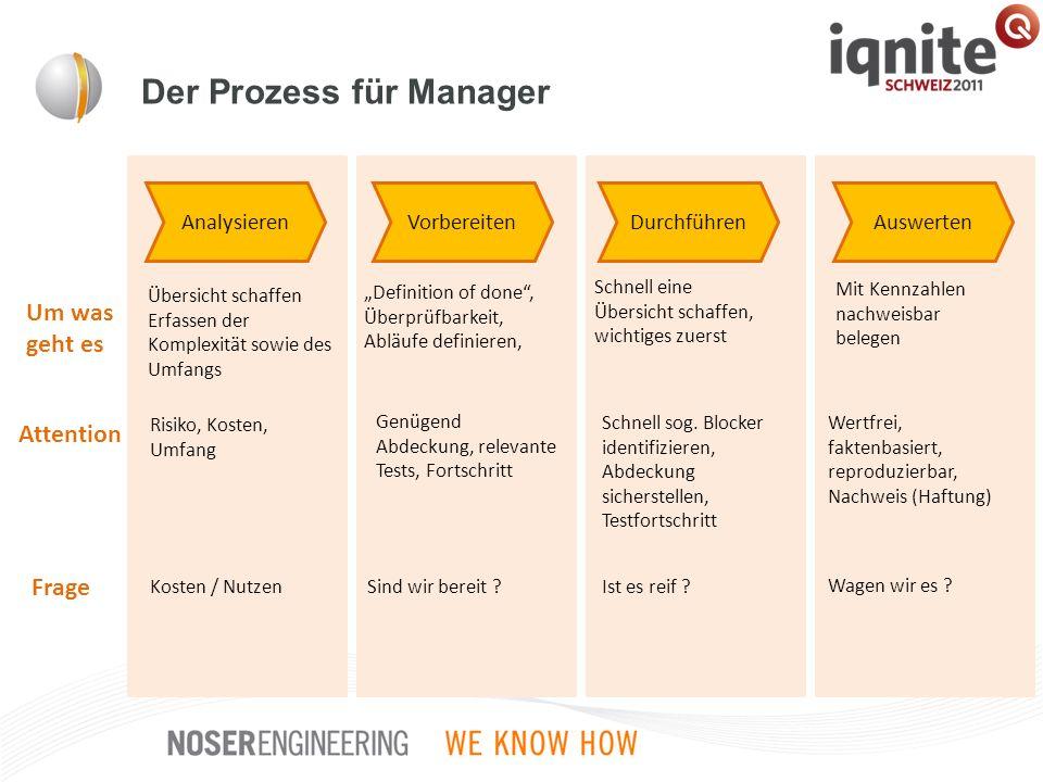Der Prozess für Manager Analysieren Übersicht schaffen Erfassen der Komplexität sowie des Umfangs Um was geht es Attention Risiko, Kosten, Umfang Frag