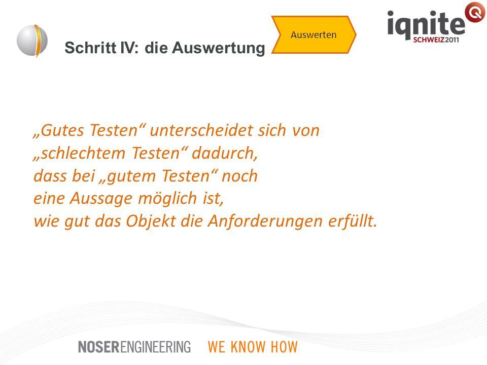 Schritt IV: die Auswertung Auswerten Gutes Testen unterscheidet sich von schlechtem Testen dadurch, dass bei gutem Testen noch eine Aussage möglich is
