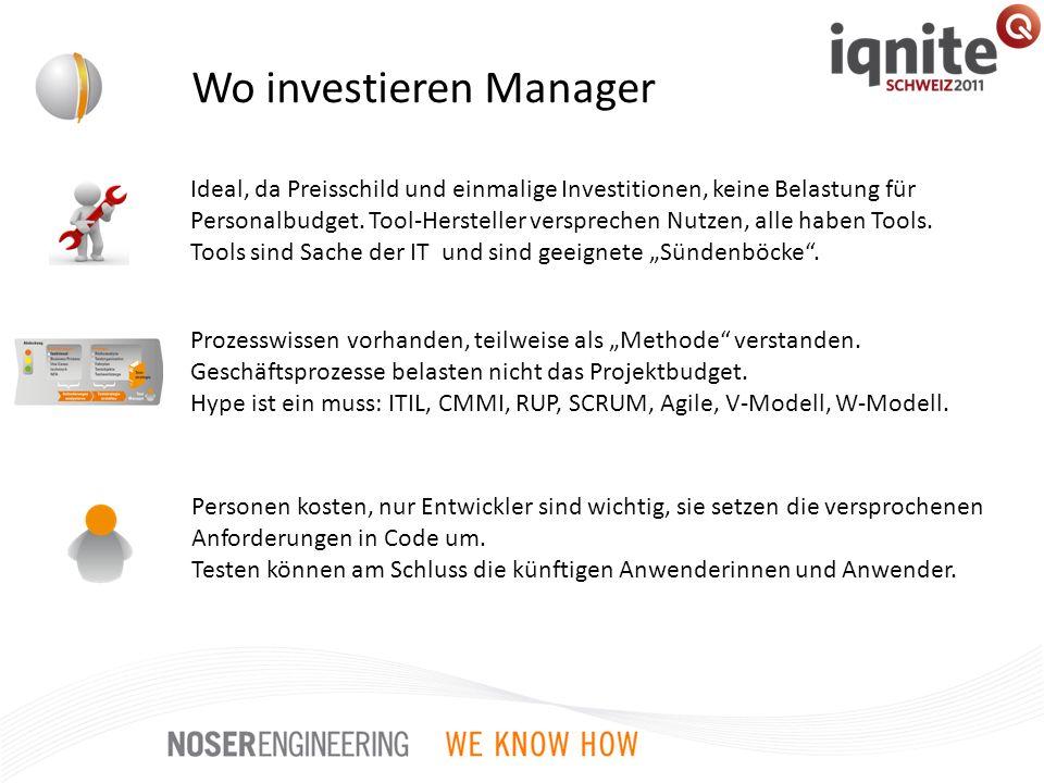 Wo investieren Manager Prozesswissen vorhanden, teilweise als Methode verstanden. Geschäftsprozesse belasten nicht das Projektbudget. Hype ist ein mus