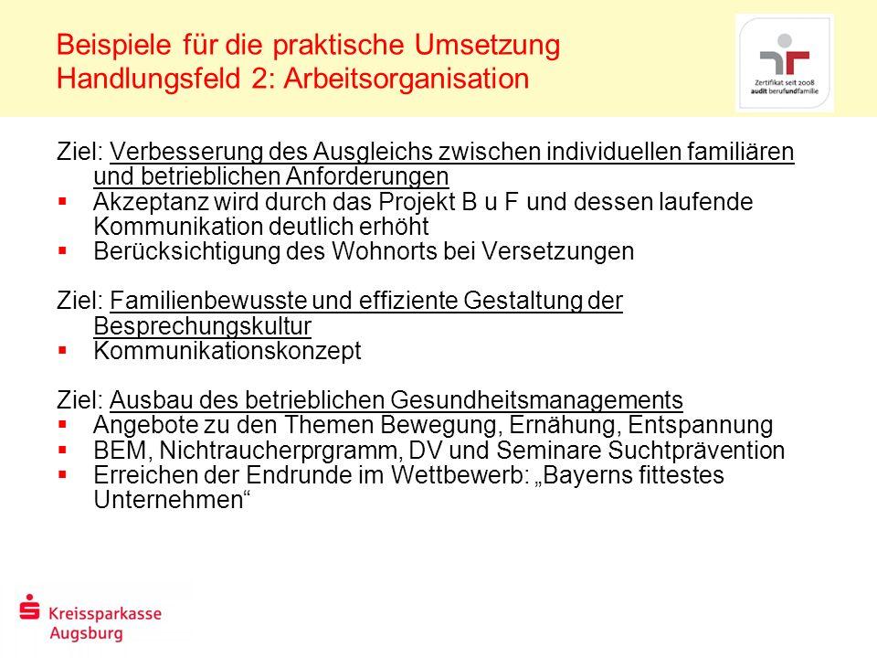 Beispiele für die praktische Umsetzung Handlungsfeld 2: Arbeitsorganisation Ziel: Verbesserung des Ausgleichs zwischen individuellen familiären und be