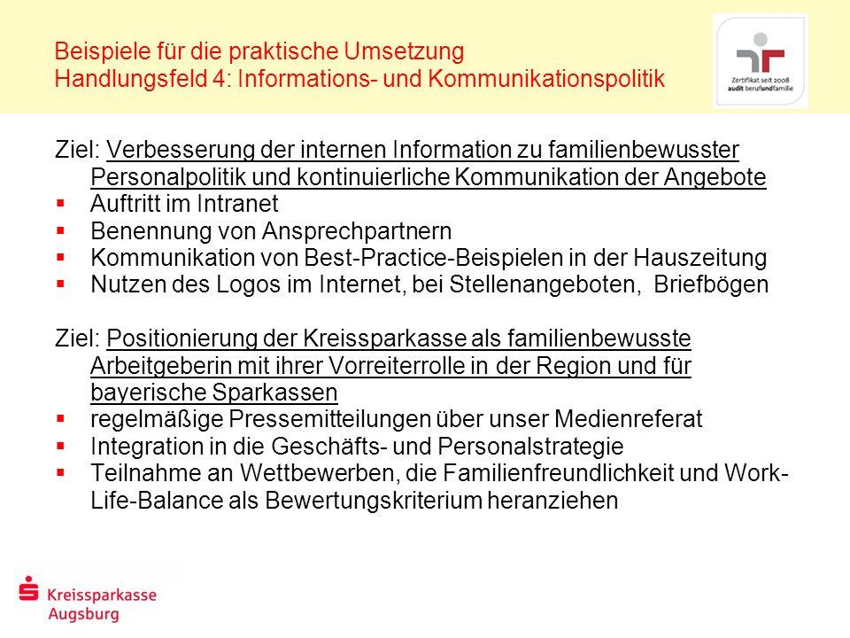 Beispiele für die praktische Umsetzung Handlungsfeld 4: Informations- und Kommunikationspolitik Ziel: Verbesserung der internen Information zu familie