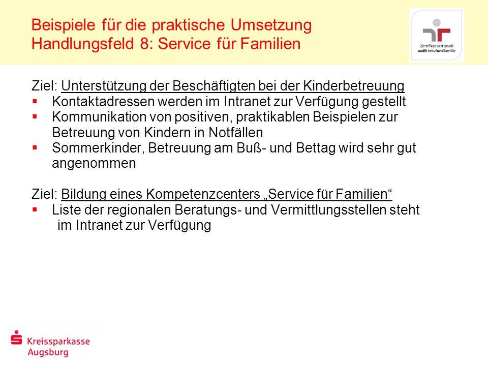 Beispiele für die praktische Umsetzung Handlungsfeld 8: Service für Familien Ziel: Unterstützung der Beschäftigten bei der Kinderbetreuung Kontaktadre