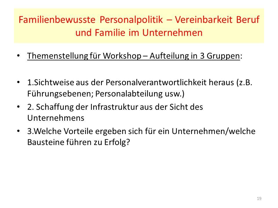 Familienbewusste Personalpolitik – Vereinbarkeit Beruf und Familie im Unternehmen Themenstellung für Workshop – Aufteilung in 3 Gruppen: 1.Sichtweise aus der Personalverantwortlichkeit heraus (z.B.