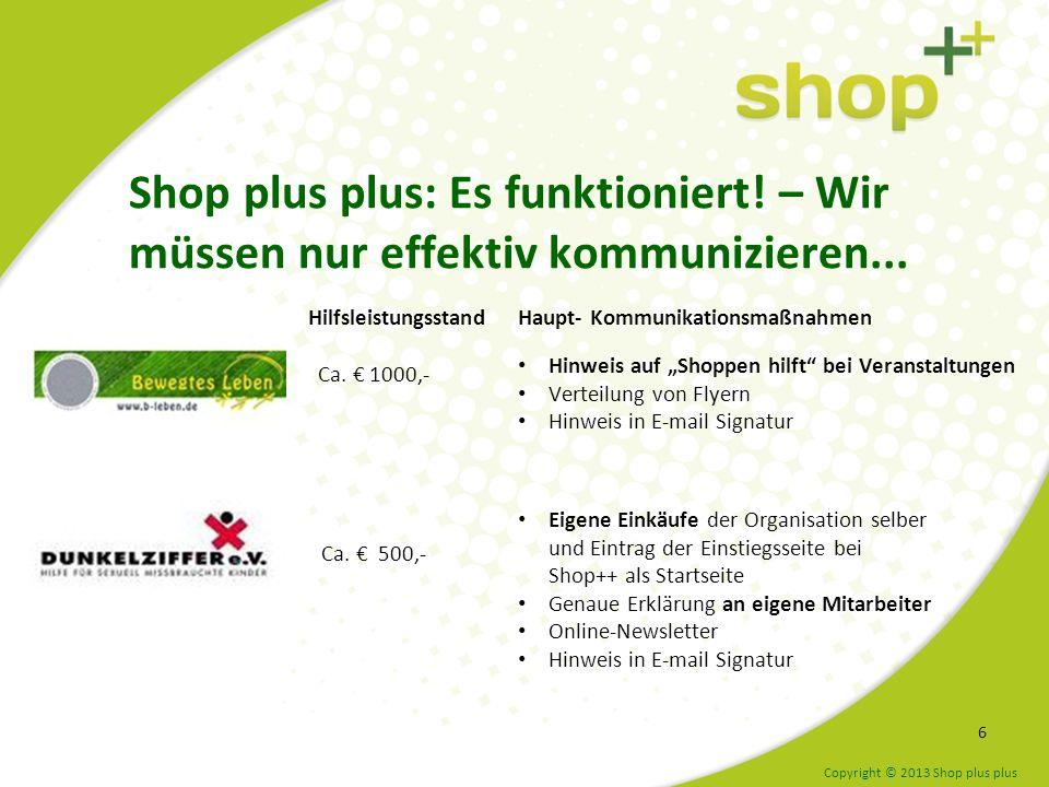 Die Toolbox hilft bei effektiver Kommunikation 7 www.shopplusplus.de/toolbox/ Copyright © 2013 Shop plus plus