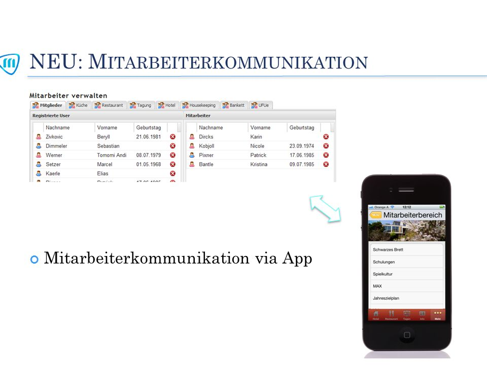 NEU: M ITARBEITERKOMMUNIKATION Mitarbeiterkommunikation via App