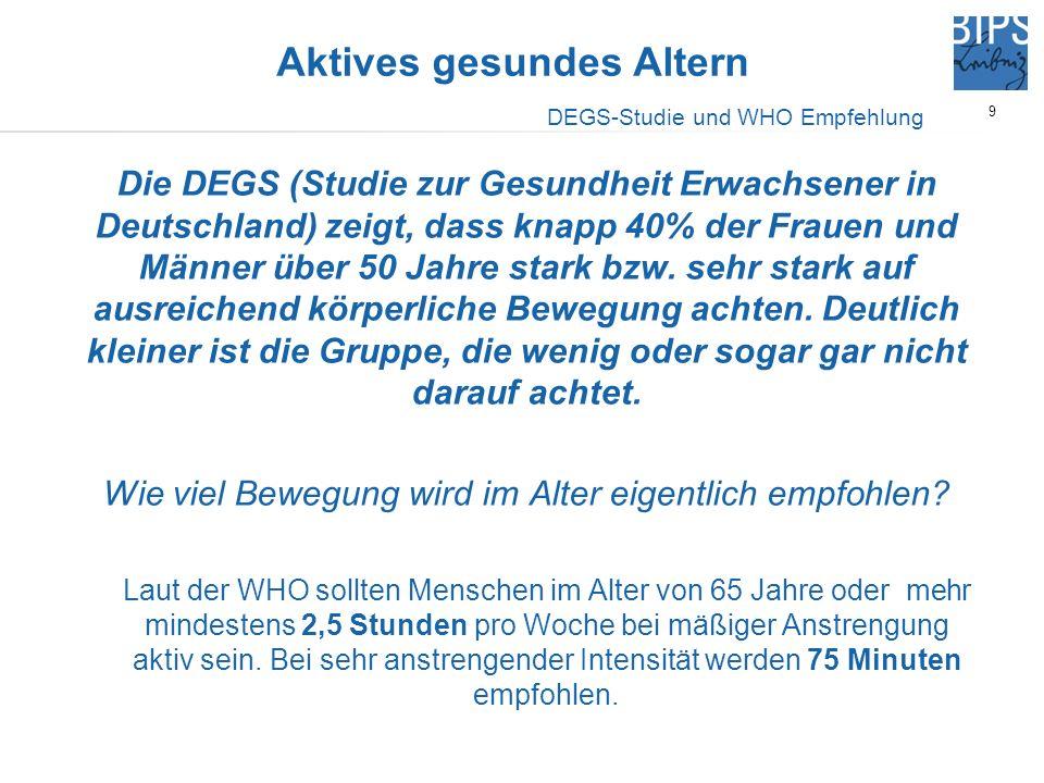 9 Die DEGS (Studie zur Gesundheit Erwachsener in Deutschland) zeigt, dass knapp 40% der Frauen und Männer über 50 Jahre stark bzw. sehr stark auf ausr