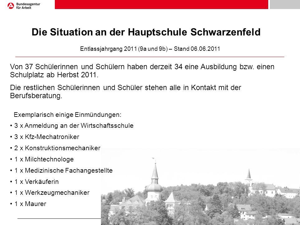 Seite 6 1)Die Situation an der Hauptschule Schwarzenfeld Entlassjahrgang 2011 (9a und 9b) – Stand 06.06.2011 Von 37 Schülerinnen und Schülern haben derzeit 34 eine Ausbildung bzw.