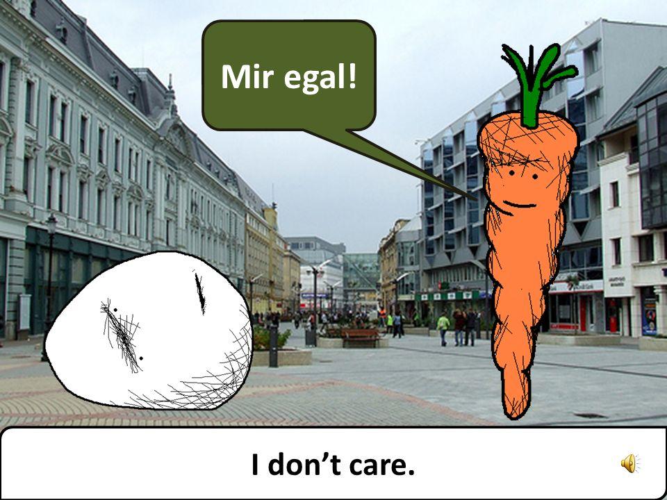 Mir egal! I dont care.