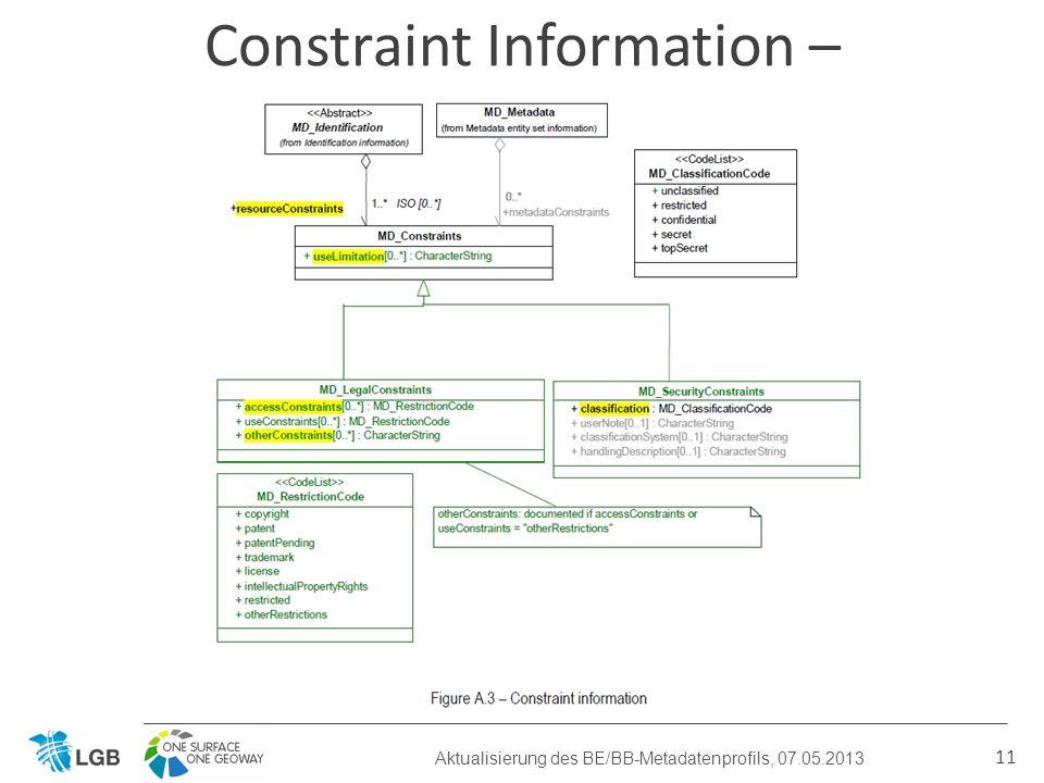 11 Constraint Information – bisheriges BE/BB-Profil Aktualisierung des BE/BB-Metadatenprofils, 07.05.2013