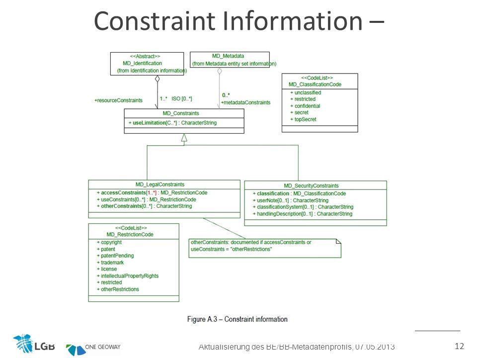 12 Constraint Information – künftiges BE/BB-Profil Aktualisierung des BE/BB-Metadatenprofils, 07.05.2013