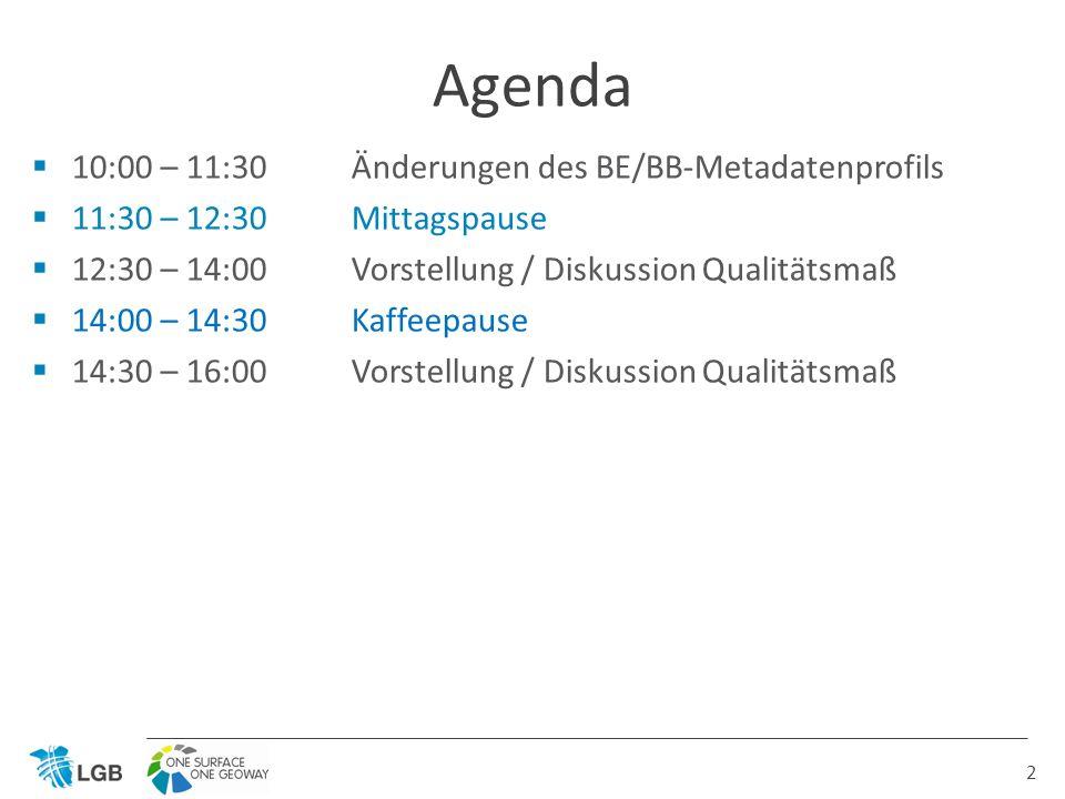 10:00 – 11:30 Änderungen des BE/BB-Metadatenprofils 11:30 – 12:30Mittagspause 12:30 – 14:00 Vorstellung / Diskussion Qualitätsmaß 14:00 – 14:30Kaffeepause 14:30 – 16:00 Vorstellung / Diskussion Qualitätsmaß Agenda 2