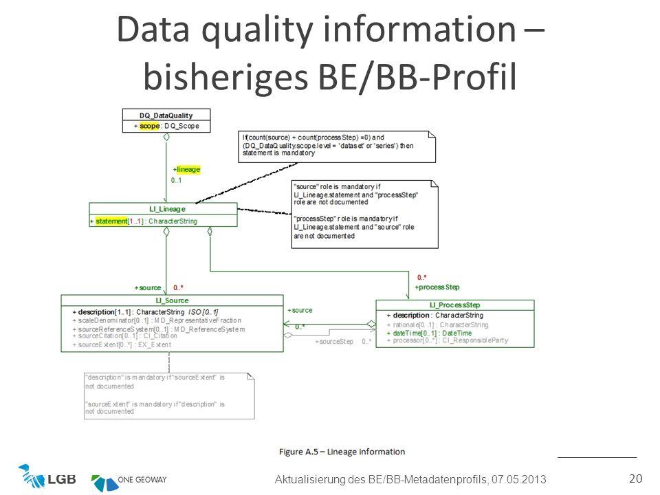 20 Data quality information – bisheriges BE/BB-Profil Aktualisierung des BE/BB-Metadatenprofils, 07.05.2013