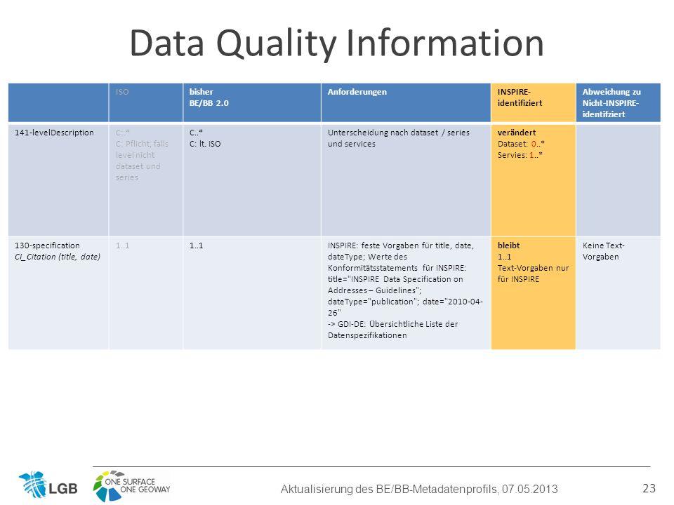 23 Data Quality Information Aktualisierung des BE/BB-Metadatenprofils, 07.05.2013 ISObisher BE/BB 2.0 AnforderungenINSPIRE- identifiziert Abweichung zu Nicht-INSPIRE- identifziert 141-levelDescriptionC:.* C: Pflicht, falls level nicht dataset und series C..* C: lt.