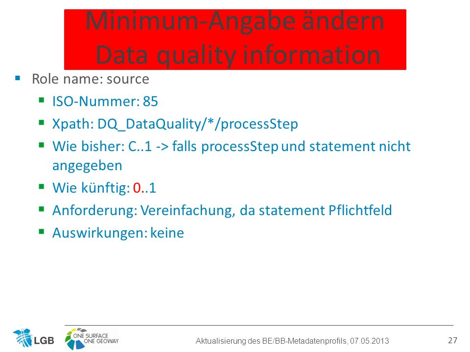 Minimum-Angabe ändern Data quality information Role name: source ISO-Nummer: 85 Xpath: DQ_DataQuality/*/processStep Wie bisher: C..1 -> falls processS