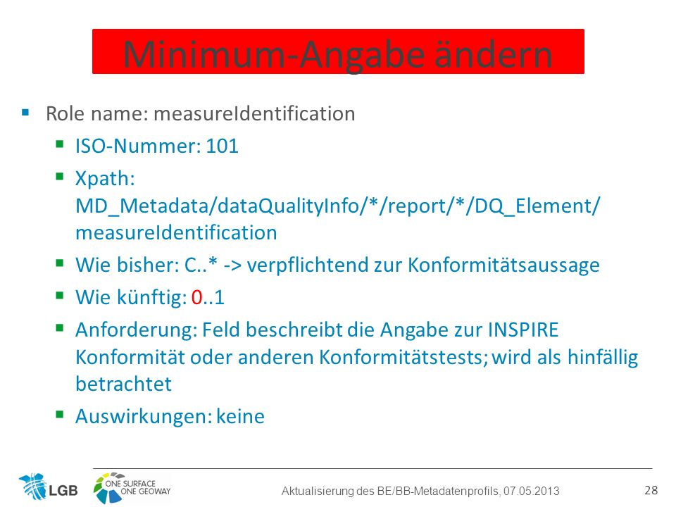 Role name: measureIdentification ISO-Nummer: 101 Xpath: MD_Metadata/dataQualityInfo/*/report/*/DQ_Element/ measureIdentification Wie bisher: C..* -> v