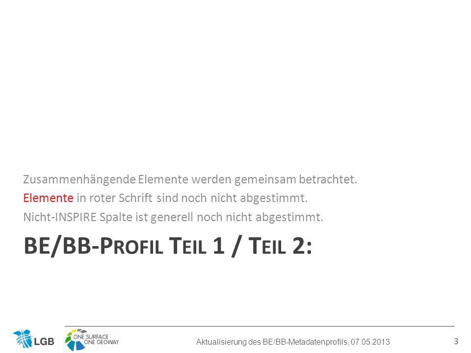 BE/BB-P ROFIL T EIL 1 / T EIL 2: Zusammenhängende Elemente werden gemeinsam betrachtet.