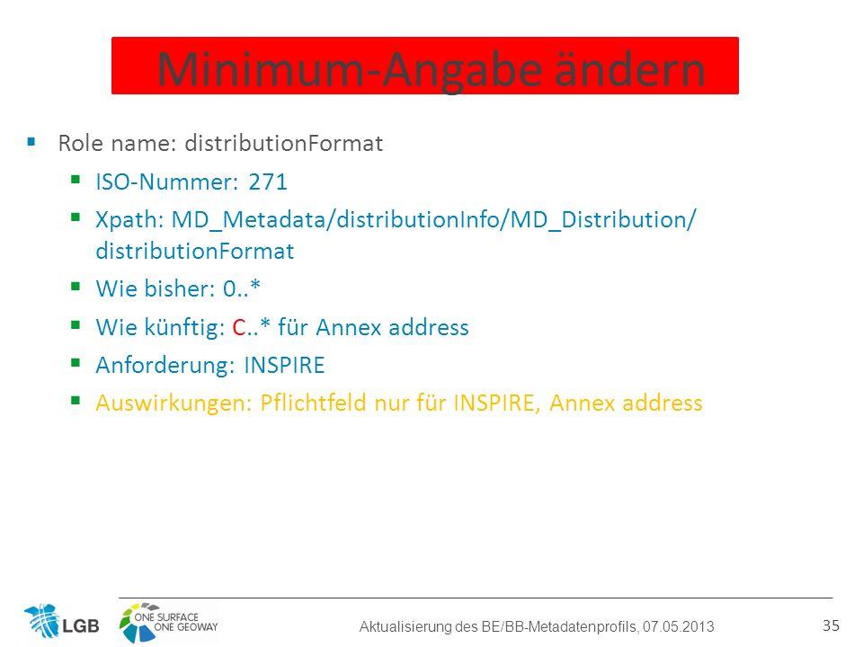 Role name: distributionFormat ISO-Nummer: 271 Xpath: MD_Metadata/distributionInfo/MD_Distribution/ distributionFormat Wie bisher: 0..* Wie künftig: C..* für Annex address Anforderung: INSPIRE Auswirkungen: Pflichtfeld nur für INSPIRE, Annex address 35 Minimum-Angabe ändern Aktualisierung des BE/BB-Metadatenprofils, 07.05.2013