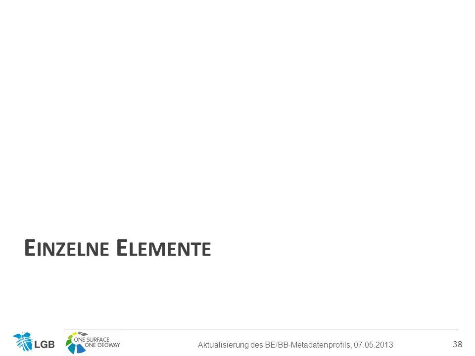 E INZELNE E LEMENTE 38 Aktualisierung des BE/BB-Metadatenprofils, 07.05.2013