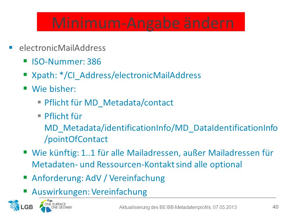 electronicMailAddress ISO-Nummer: 386 Xpath: */CI_Address/electronicMailAddress Wie bisher: Pflicht für MD_Metadata/contact Pflicht für MD_Metadata/id