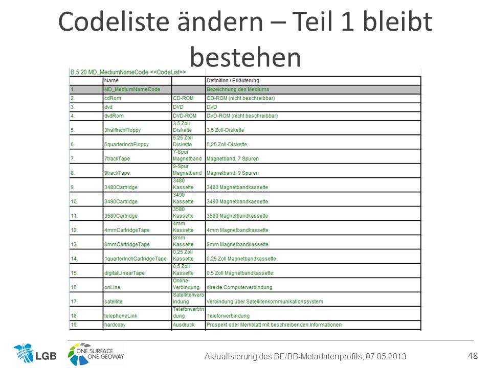 48 Codeliste ändern – Teil 1 bleibt bestehen Aktualisierung des BE/BB-Metadatenprofils, 07.05.2013