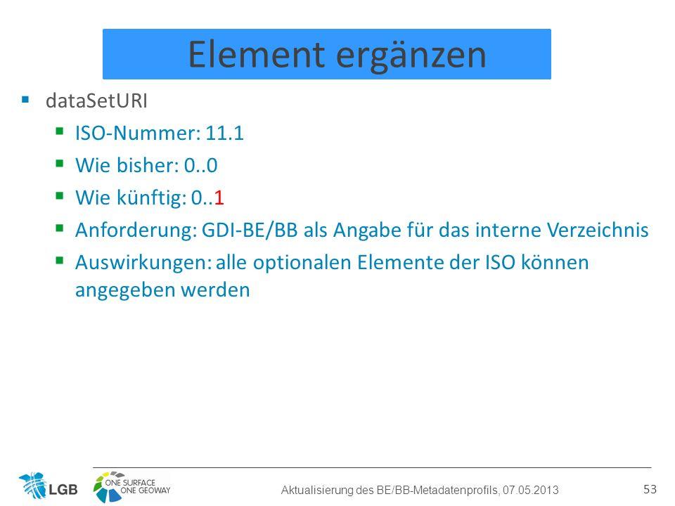 Element ergänzen dataSetURI ISO-Nummer: 11.1 Wie bisher: 0..0 Wie künftig: 0..1 Anforderung: GDI-BE/BB als Angabe für das interne Verzeichnis Auswirkungen: alle optionalen Elemente der ISO können angegeben werden 53 Aktualisierung des BE/BB-Metadatenprofils, 07.05.2013