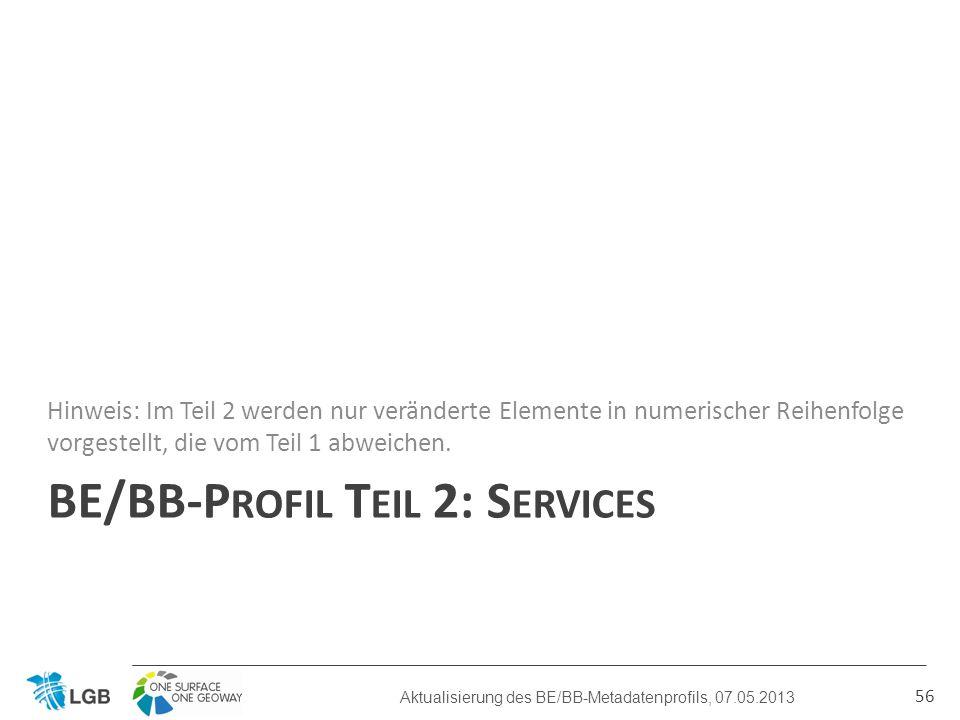BE/BB-P ROFIL T EIL 2: S ERVICES Hinweis: Im Teil 2 werden nur veränderte Elemente in numerischer Reihenfolge vorgestellt, die vom Teil 1 abweichen.