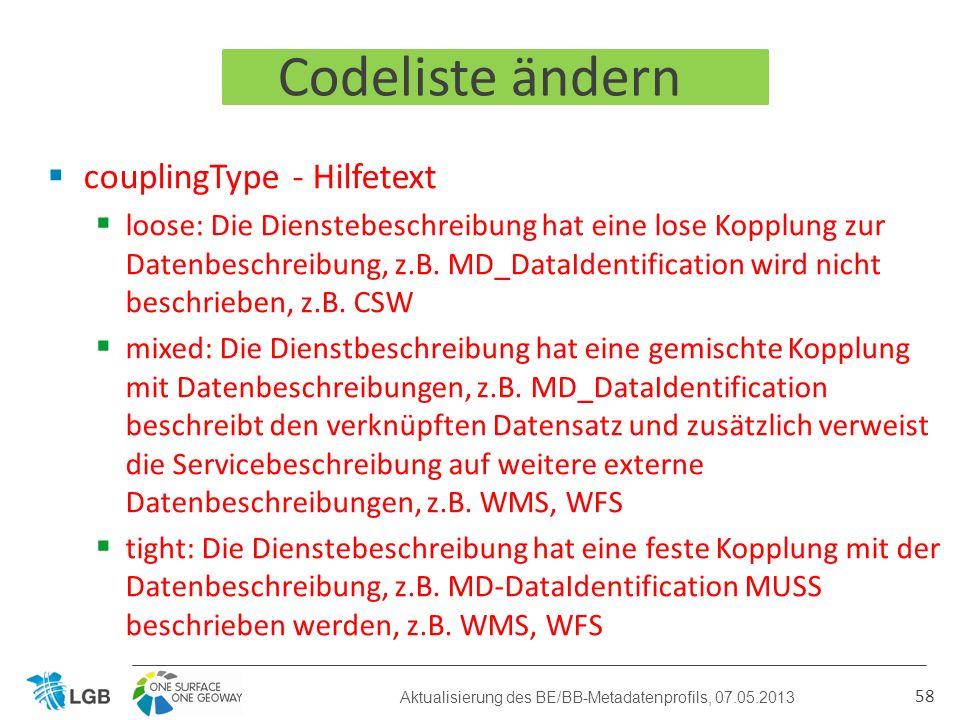 Codeliste ändern couplingType - Hilfetext loose: Die Dienstebeschreibung hat eine lose Kopplung zur Datenbeschreibung, z.B.