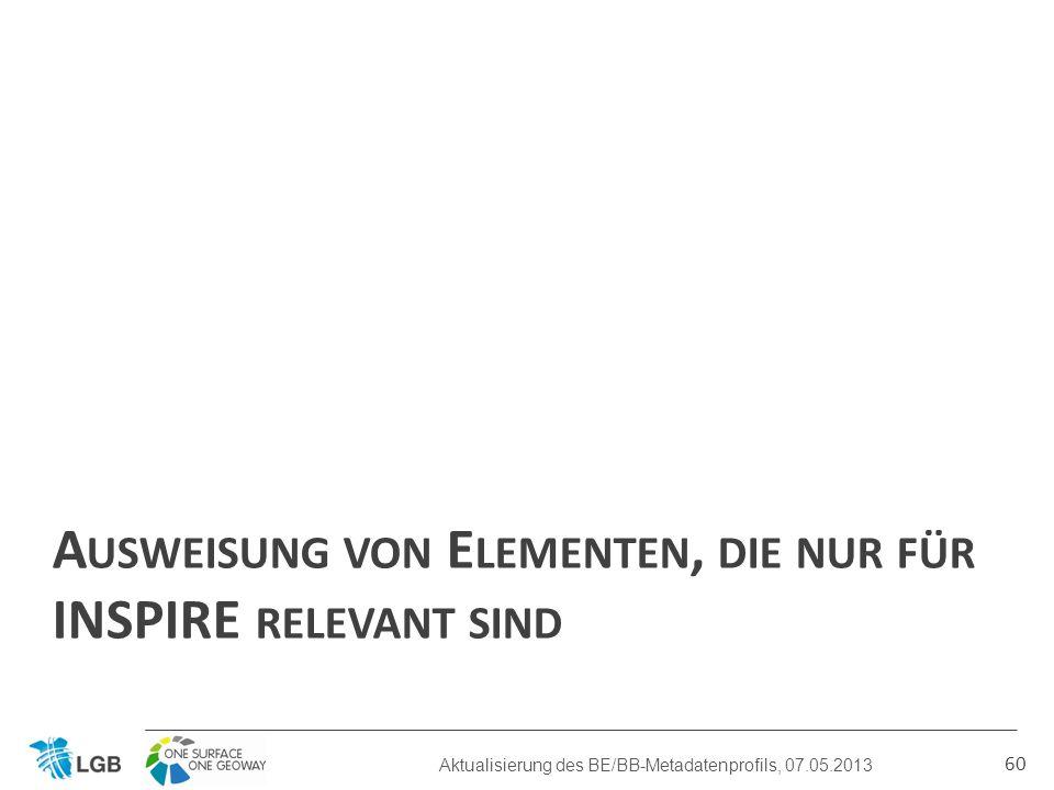 A USWEISUNG VON E LEMENTEN, DIE NUR FÜR INSPIRE RELEVANT SIND 60 Aktualisierung des BE/BB-Metadatenprofils, 07.05.2013
