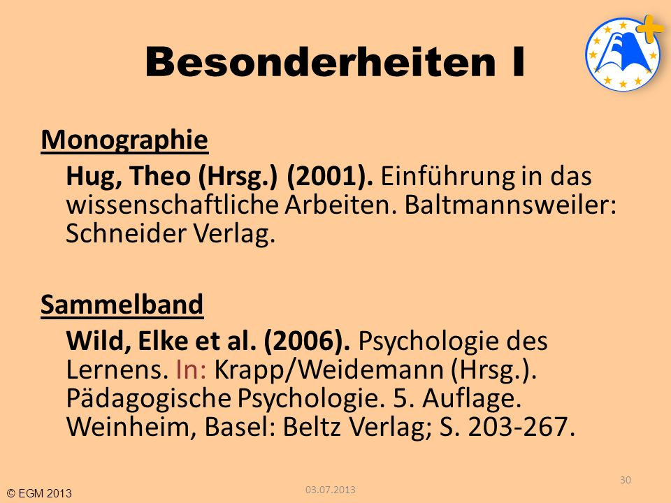 © EGM 2013 Besonderheiten I Monographie Hug, Theo (Hrsg.) (2001). Einführung in das wissenschaftliche Arbeiten. Baltmannsweiler: Schneider Verlag. Sam