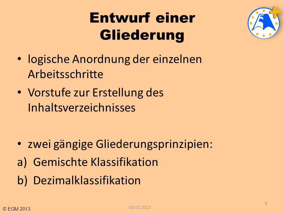 © EGM 2013 BEISPIELE FÜR DAS ZITIEREN I Dieses Beispiel zeigt, daß die alte Schreibweise nicht korrigiert wird.