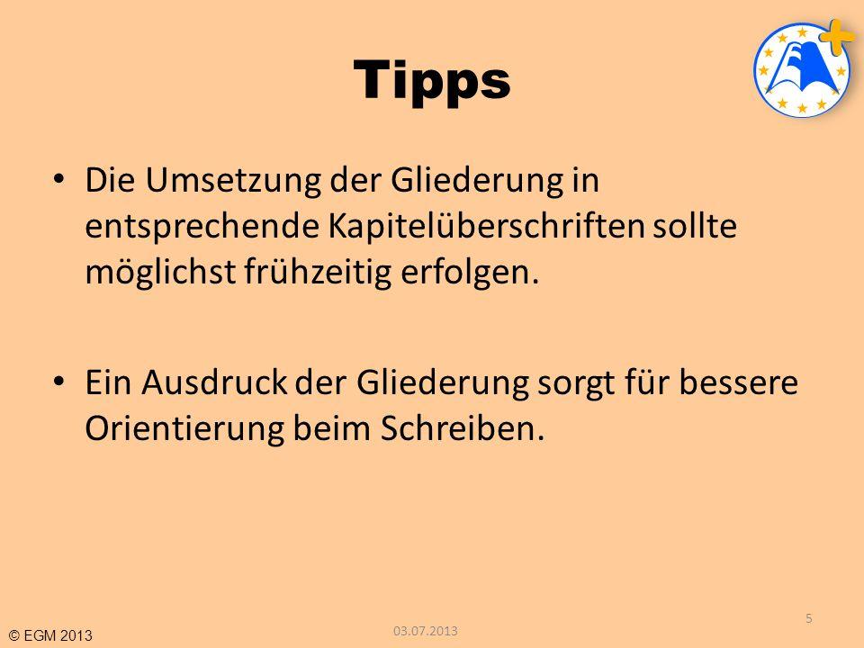 © EGM 2013 ZUSAMMENFASSUNG Obligatorische Bestandteile Deckblatt Inhaltsverzeichnis Kapitel 1, 2, 3, etc.