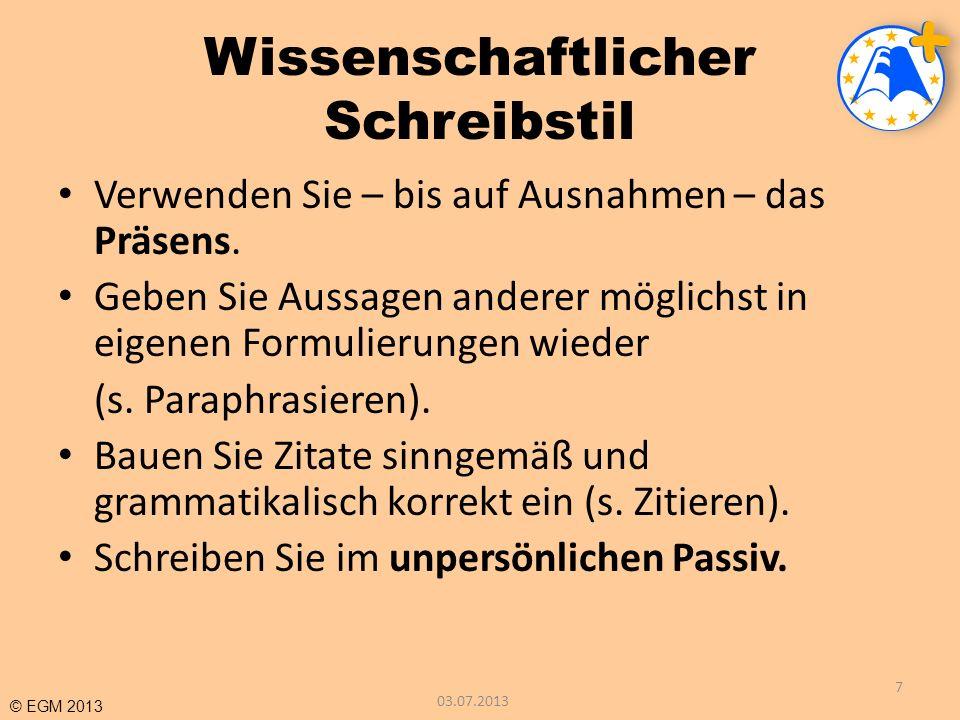 © EGM 2013 Teil II Textüberarbeitungsstrategien 03.07.2013 38