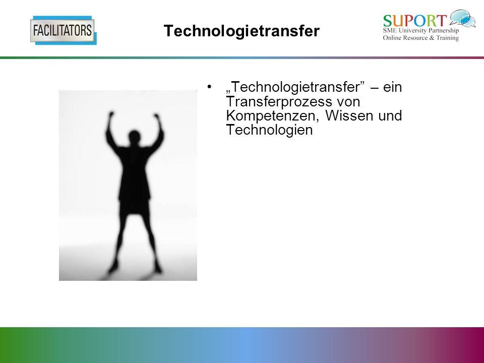 Technologietransfer Technologietransfer – ein Transferprozess von Kompetenzen, Wissen und Technologien