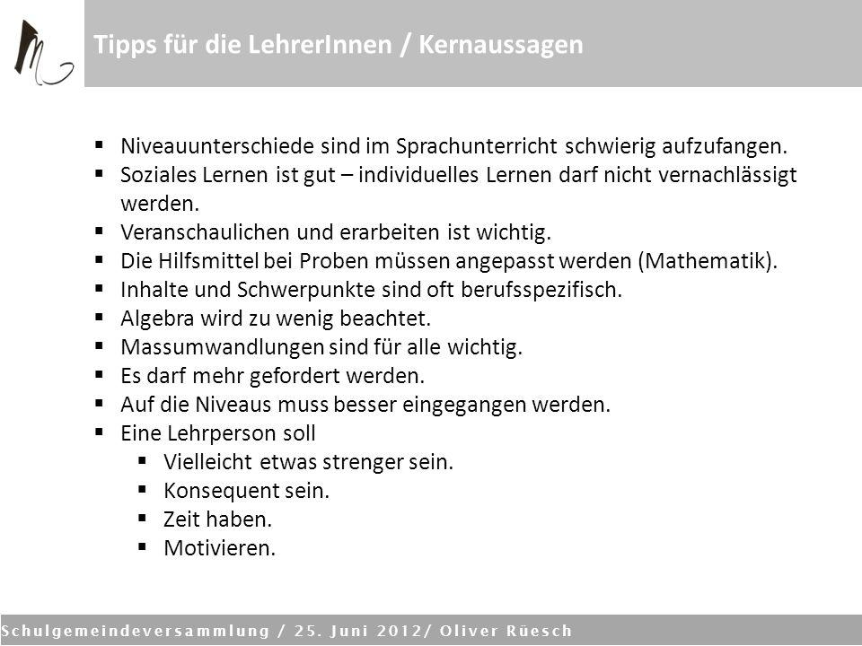 Schulgemeindeversammlung / 25. Juni 2012/ Oliver Rüesch Tipps für die LehrerInnen / Kernaussagen Niveauunterschiede sind im Sprachunterricht schwierig