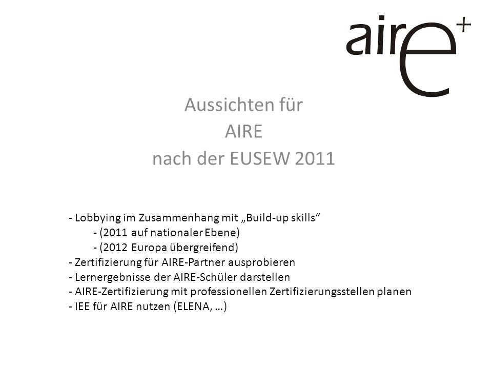 Aussichten für AIRE nach der EUSEW 2011 - Lobbying im Zusammenhang mit Build-up skills - (2011 auf nationaler Ebene) - (2012 Europa übergreifend) - Zertifizierung für AIRE-Partner ausprobieren - Lernergebnisse der AIRE-Schüler darstellen - AIRE-Zertifizierung mit professionellen Zertifizierungsstellen planen - IEE für AIRE nutzen (ELENA, …)