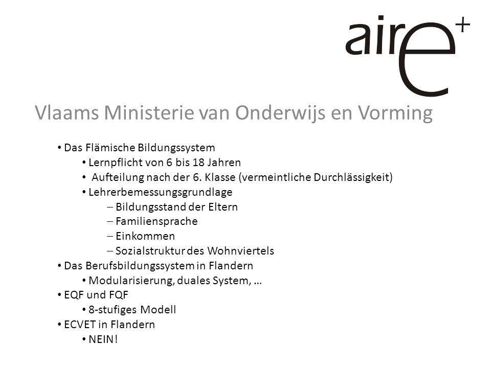 Vlaams Ministerie van Onderwijs en Vorming Das Flämische Bildungssystem Lernpflicht von 6 bis 18 Jahren Aufteilung nach der 6.