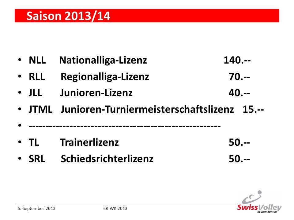 Saison 2013/14 NLL Nationalliga-Lizenz 140.-- RLL Regionalliga-Lizenz 70.-- JLL Junioren-Lizenz 40.-- JTML Junioren-Turniermeisterschaftslizenz 15.-- ------------------------------------------------------- TL Trainerlizenz 50.-- SRL Schiedsrichterlizenz 50.-- 5.