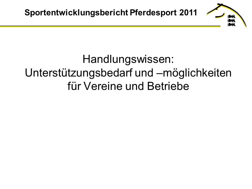 Sportentwicklungsbericht Pferdesport 2011 Handlungswissen: Unterstützungsbedarf und –möglichkeiten für Vereine und Betriebe