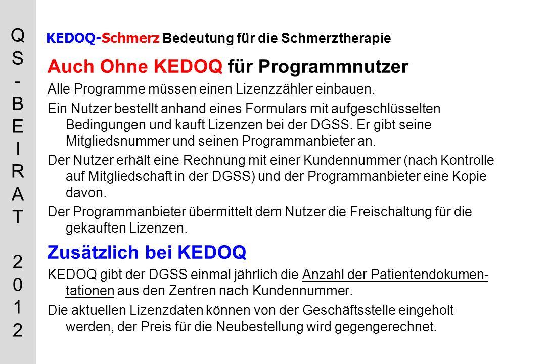 QS-BEIRAT 2012QS-BEIRAT 2012 KEDOQ-Schmerz Bedeutung für die Schmerztherapie Auch Ohne KEDOQ für Programmnutzer Alle Programme müssen einen Lizenzzähler einbauen.