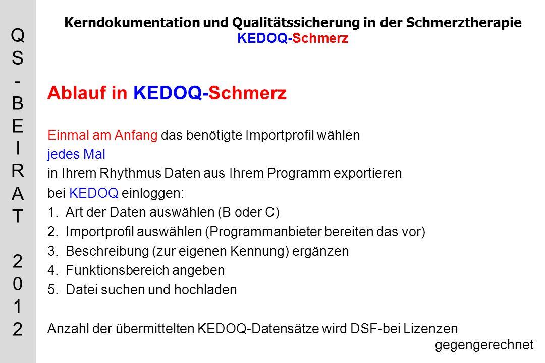 QS-BEIRAT 2012QS-BEIRAT 2012 Kerndokumentation und Qualitätssicherung in der Schmerztherapie KEDOQ-Schmerz Ablauf in KEDOQ-Schmerz Einmal am Anfang das benötigte Importprofil wählen jedes Mal in Ihrem Rhythmus Daten aus Ihrem Programm exportieren bei KEDOQ einloggen: 1.Art der Daten auswählen (B oder C) 2.Importprofil auswählen (Programmanbieter bereiten das vor) 3.Beschreibung (zur eigenen Kennung) ergänzen 4.Funktionsbereich angeben 5.Datei suchen und hochladen Anzahl der übermittelten KEDOQ-Datensätze wird DSF-bei Lizenzen gegengerechnet