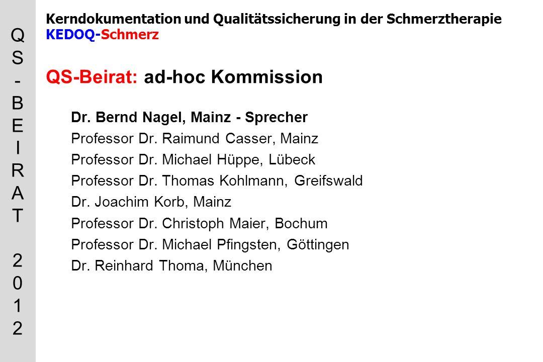 QS-BEIRAT 2012QS-BEIRAT 2012 Kerndokumentation und Qualitätssicherung in der Schmerztherapie KEDOQ-Schmerz QS-Beirat: ad-hoc Kommission Dr.