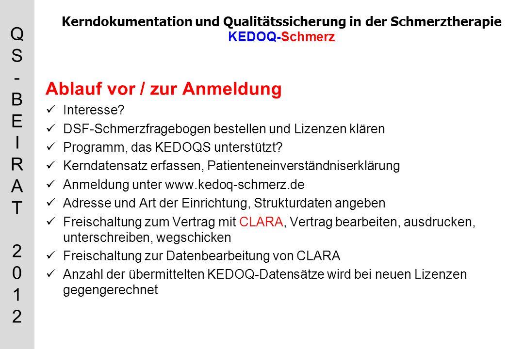 QS-BEIRAT 2012QS-BEIRAT 2012 Kerndokumentation und Qualitätssicherung in der Schmerztherapie KEDOQ-Schmerz Ablauf vor / zur Anmeldung Interesse.