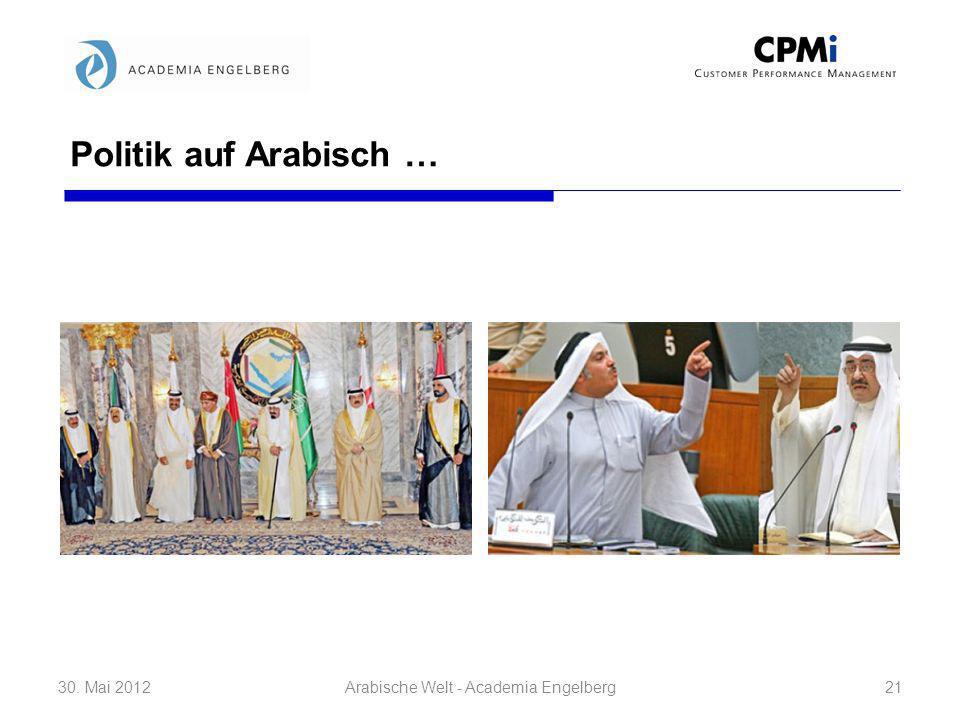Politik auf Arabisch … 30. Mai 201221Arabische Welt - Academia Engelberg