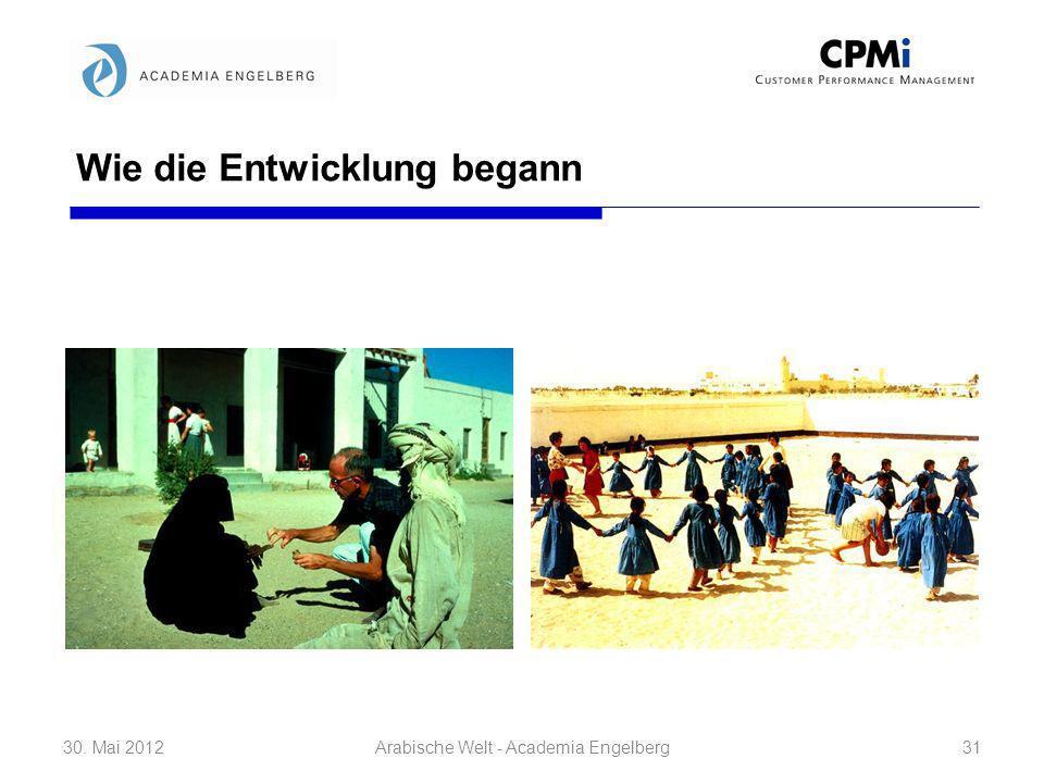 Wie die Entwicklung begann 30. Mai 201231Arabische Welt - Academia Engelberg