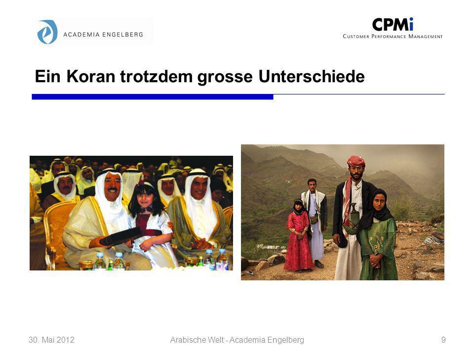 Ein Koran trotzdem grosse Unterschiede 30. Mai 20129Arabische Welt - Academia Engelberg