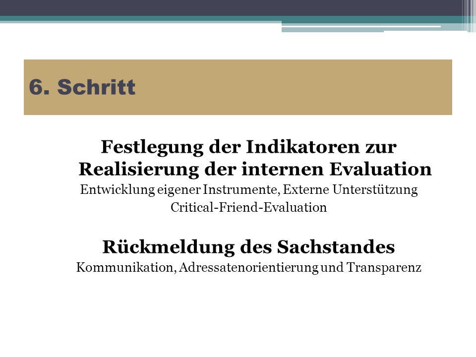 6. Schritt Festlegung der Indikatoren zur Realisierung der internen Evaluation Entwicklung eigener Instrumente, Externe Unterstützung Critical-Friend-