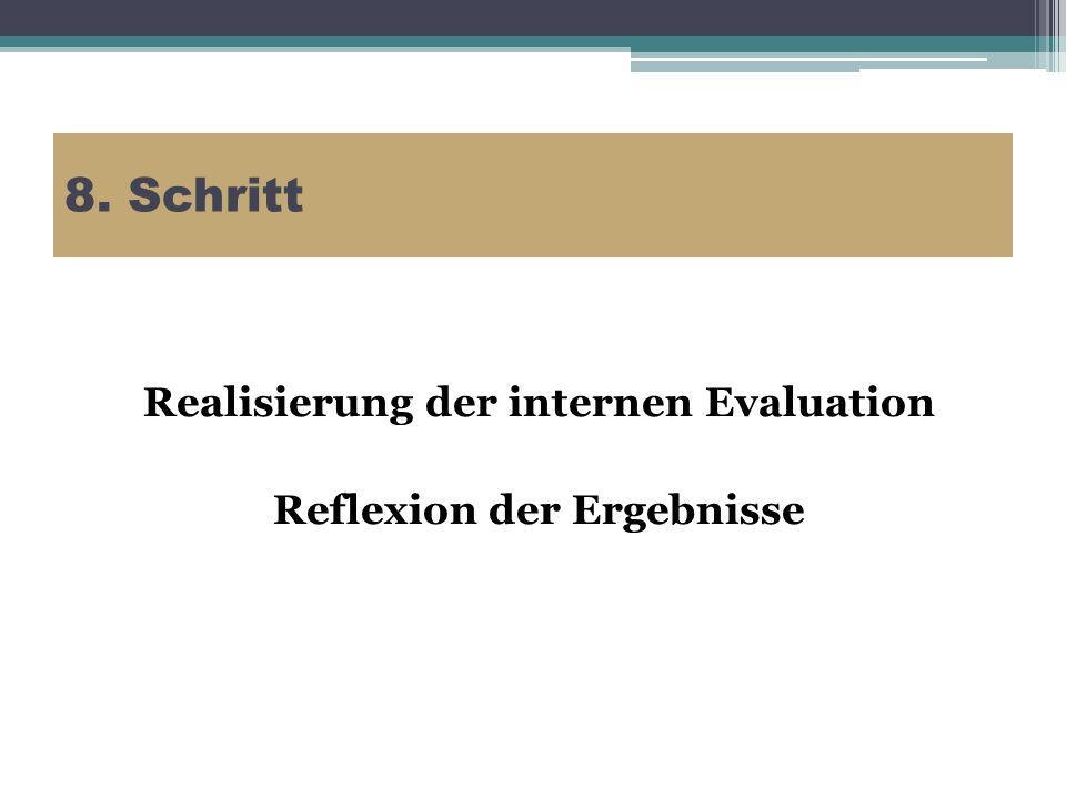 8. Schritt Realisierung der internen Evaluation Reflexion der Ergebnisse